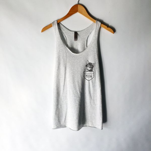 "Meow Shirt, $15.95, <a href=""https://www.etsy.com/listing/290442921/funny-cat-shirt-tank-top-crazy-cat-lady?ga_order=mos"