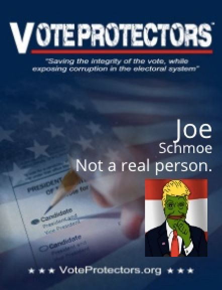 The Vote Protectors site created this badge with a fake name and photo provided by The Huffington