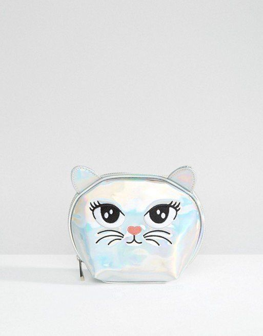 "Cat Makeup Bag, $13,<a href=""http://us.asos.com/asos/asos-metallic-cat-makeup-bag/prd/6430207?iid=6430207&clr=Silve"