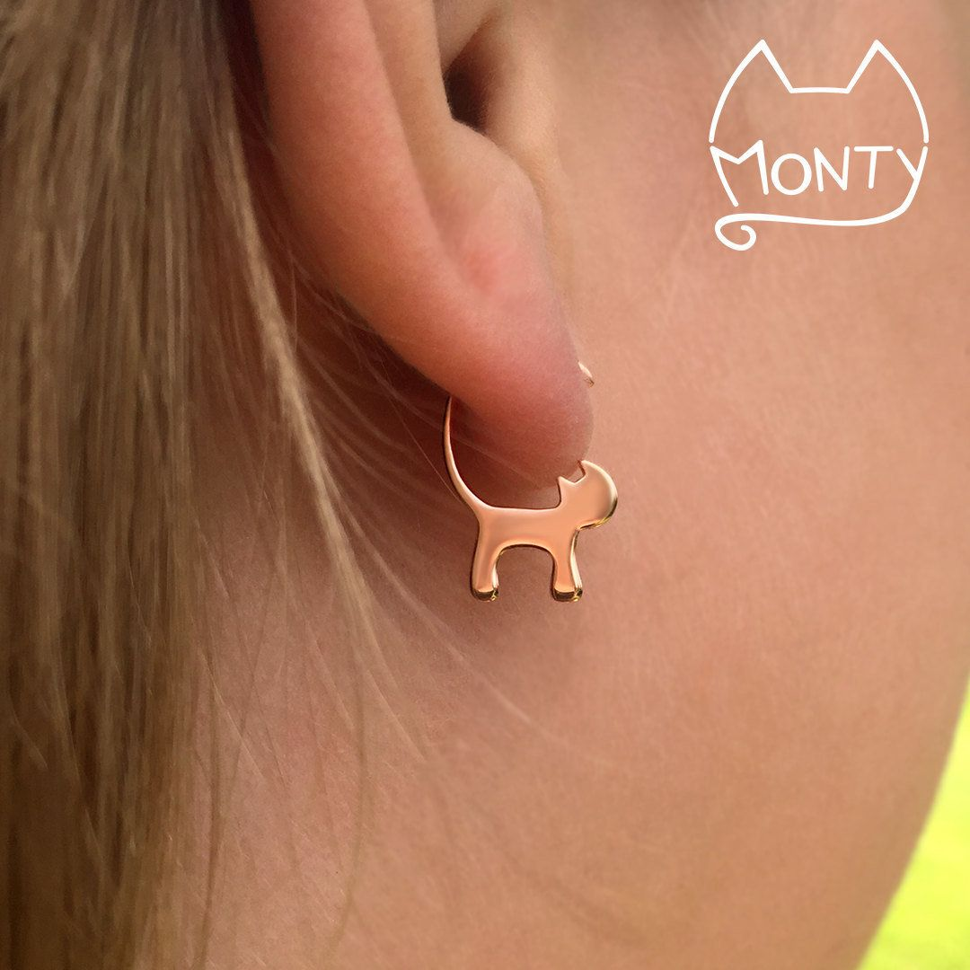 """Cat Earrings, $21.95,<a href=""""https://www.etsy.com/listing/458448470/cats-rose-gold-plated-sterling-silver?ga_order=mos"""