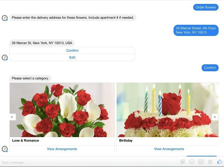 The 1-800-Flowers.com chatbot. Source: Digiday