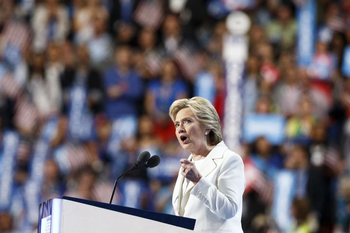U.S. Democratic Presidential Candidate Hillary Clinton speaks at the 2016 U.S. Democratic National Convention in Philadelphia