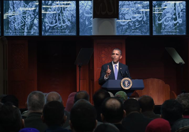 President Barack Obama visits the Islamic Society of Baltimore on Wednesday, Feb. 3, 2016.