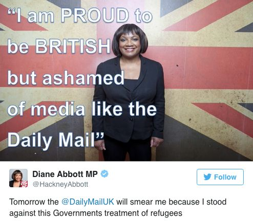 Diane Abbott Accuses Daily Mail Of 'Smear' After 'Calling Out' Ill Treatment Of
