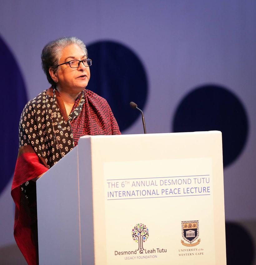 Human rights champion, Advocate Hina Jilani delivers the 6th Annual Desmond Tutu International Peace Lecture at the Artscape