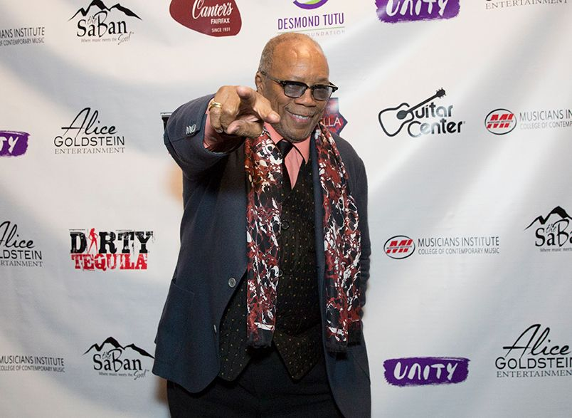 Quincy Jones arrives to the Saban Theatre for UNITY: The Desmond Tutu Tribute Concert