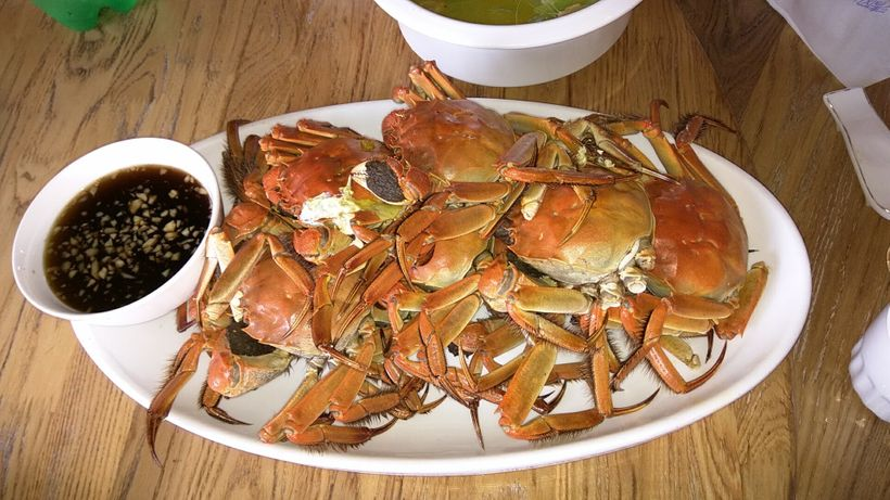 The crabs are cooked and served for lunch