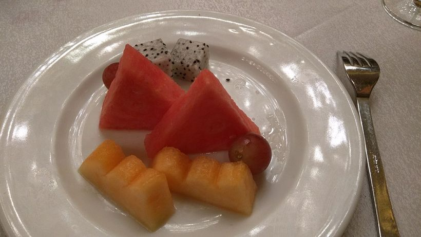 Most meals conclude with artistic platters of fruit