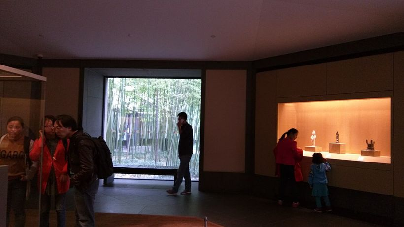 Nature is viewed through the gallery windows