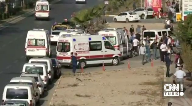 Emergency services attend the scene of Tuesday's