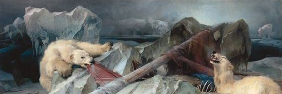The grisly oil painting has hung in the university since it was founded in