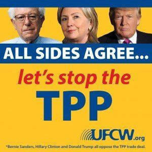 A United Food and Commercial Workers anti-TPP poster features politicians from the U.S. election cycle.