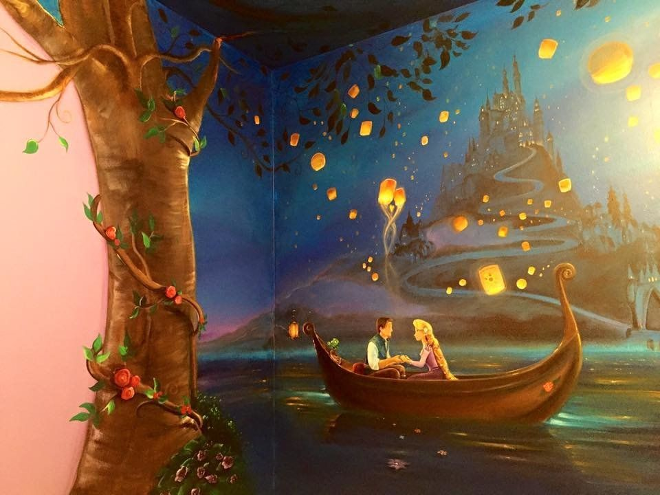 """It took Jennifer Treece 60 hours to complete a """"Tangled"""" mural for her daughter."""