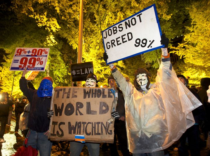 Occupy Wall Street protesters demonstrate in Portland, Oregon, on Nov. 13, 2011. Nearly five years later, the city gover