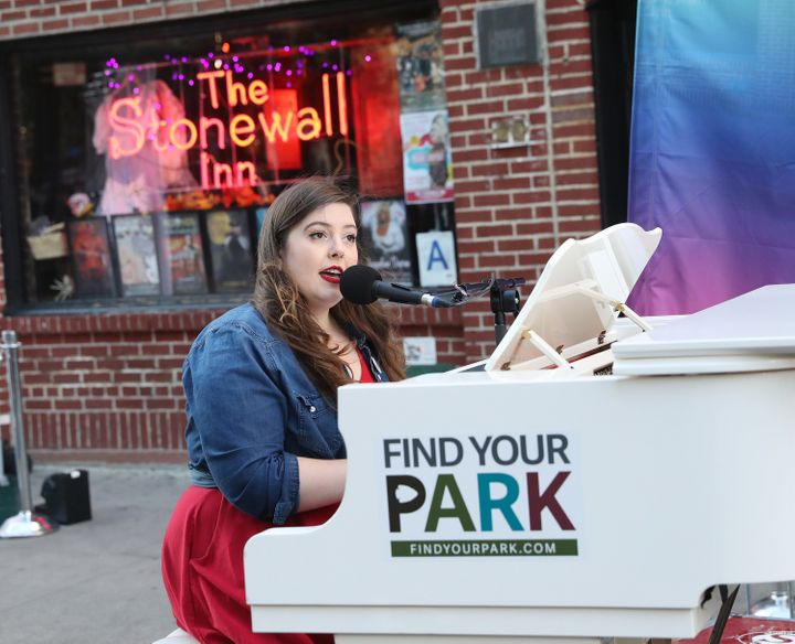 """Mary Lambert crooned """"She Keeps Me Warm"""" and """"Secrets"""" as part of her surprise set outside New York's Stonewall Inn on Monday"""