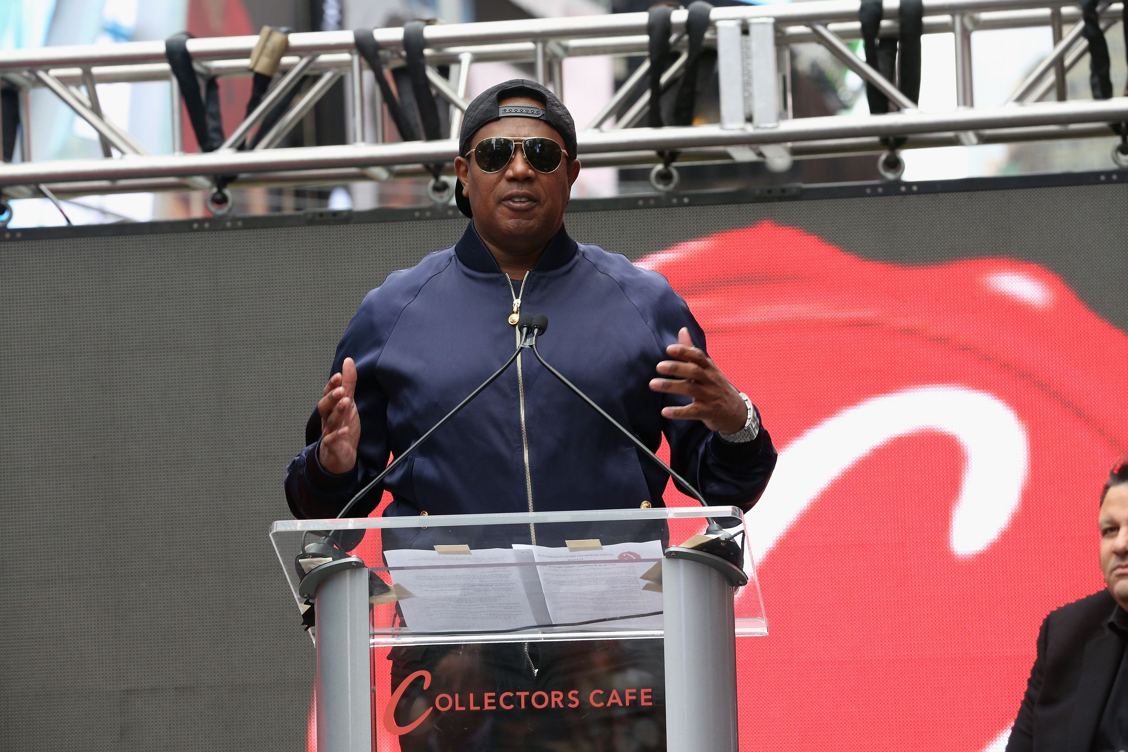 NEW YORK, NEW YORK - APRIL 11:  Master P attends Collectors Cafe Presents The Unveiling Of The Original, Long-Lost Jackie Robinson Baseball Contracts at Times Square on April 11, 2016 in New York City.  (Photo by Robin Marchant/Getty Images for Collectors Cafe)
