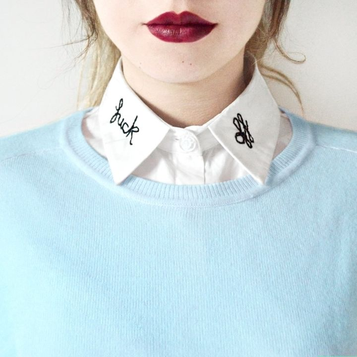 """Fck Off Collar, $27.49+, <a href=""""https://www.etsy.com/listing/292600375/fck-off-detachable-embroidered-peter-pan?ref=shop_home_active_4"""" target=""""_blank"""">Etsy</a>"""