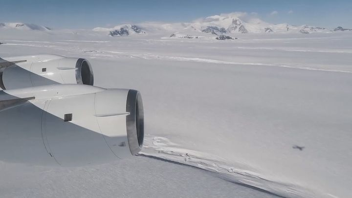 A view from Operation IceBridge's aircraft of Crosson Ice Shelf (foreground). Mt. Murphy is in the background.<i></i>