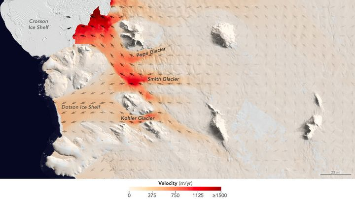 Flow speeds of Pope, Smith and Kohler glaciers.<i></i>