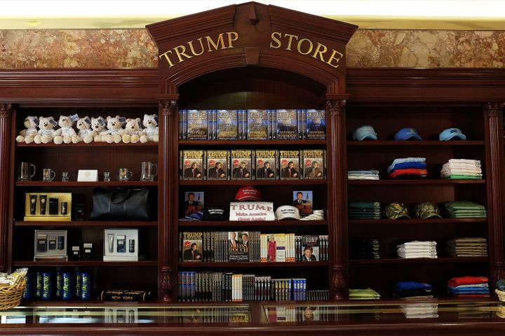 The novel placed on the top shelf on July 22, 2015, at the Trump Store in Trump Tower.