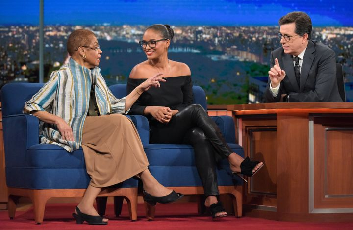 "Joy Bryant and Congresswoman Eleanor Holmes Norton on ""The Late Show with Stephen Colbert."""