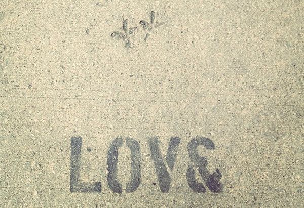 "As seen on a sidewalk in Chicago, this should probably be how the word ""love"" is spelled from this point forward. Because isn"