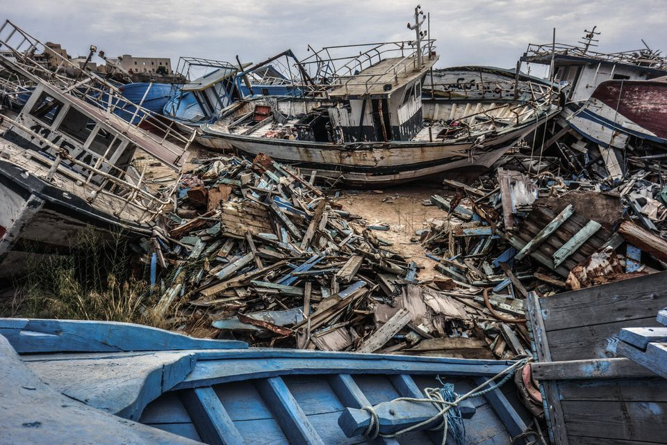 A migrant ship graveyard on Sept. 8, 2014 in Lampedusa,