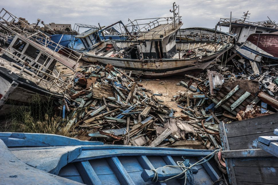 A migrant ship graveyard on Sept. 8, 2014 in Lampedusa, Italy.