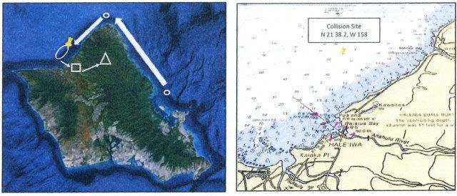 At left, the flight path of the two helicopters shows their journey from the base at Kaneohe along the North Shore. The locat