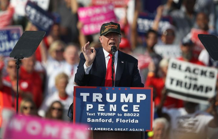 Donald Trump speaks at a campaign rally in Sanford, Florida, on Tuesday. He made false claims about Hillary Clinton at&n