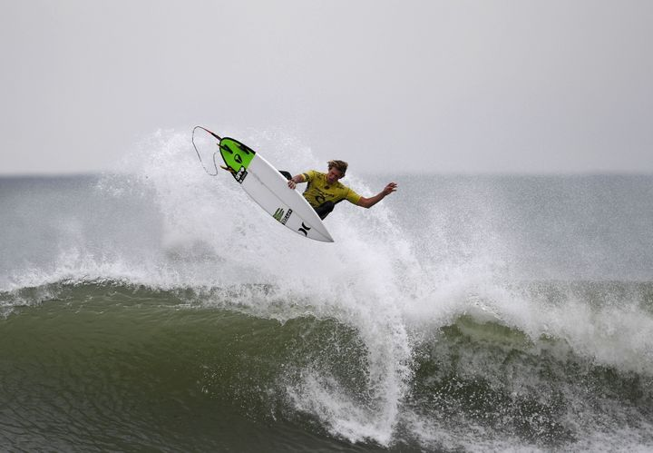 World Surf League World Title winner John John Florence competes during the final heat of the Portuguese stage of the World S