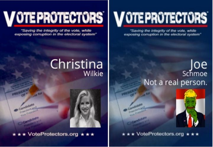 HuffPost created these two badges using the Vote Protectors online I.D. Badge Generator