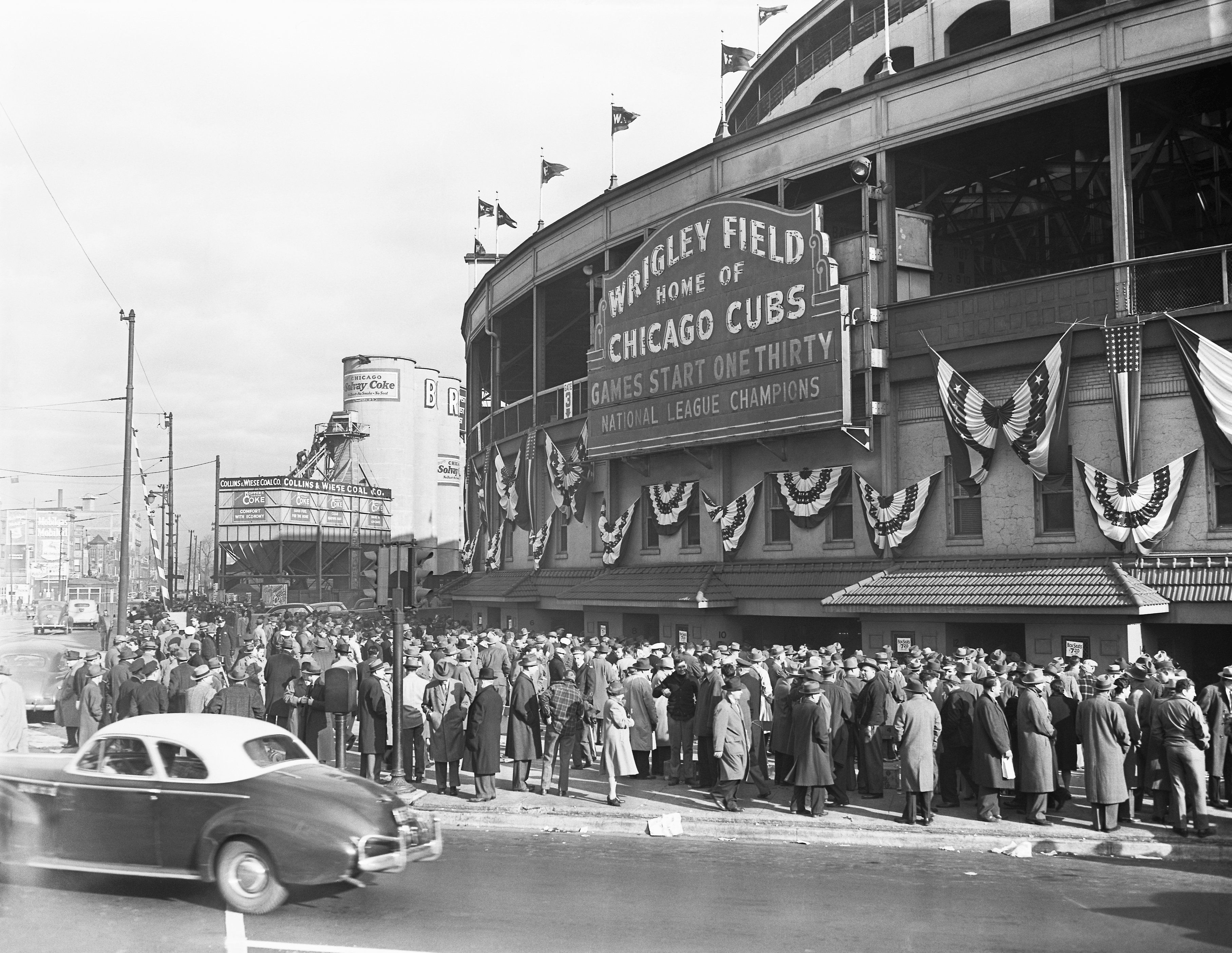 Fans mill about the Wrigley Field Box Office during the World Series in October, 1945.