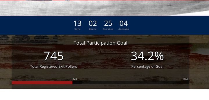 "A screenshot from StoptheSteal.org shows how many ""Exit Pollers"" have registered to monitor other citizens as they vote on El"