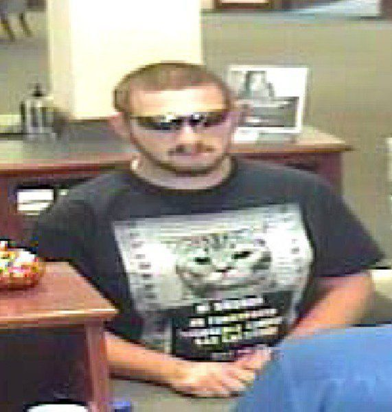 This manisaccused of holding up a BancFirst location in Norman, Oklahoma.