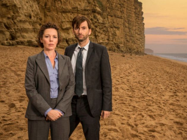 Kpaka appeared alongside Olivia Colman, left, and David Tennant, right, in ITV's