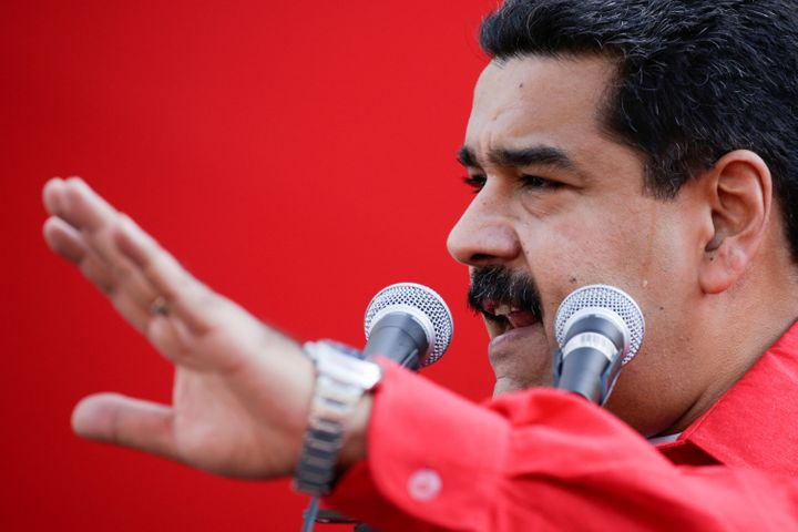 Venezuela's President Nicolas Maduro speaks during a pro-government rally at Miraflores Palace in Caracas, Venezuela October
