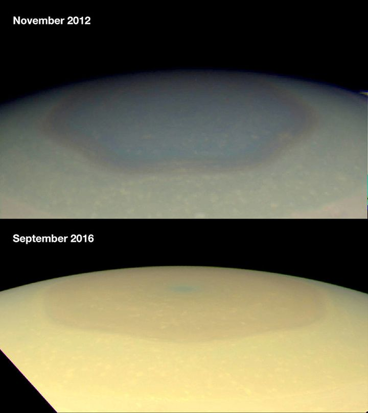 Images of Saturn's north polar hexagon, which appears bluish in 2012 and more golden in 2016.