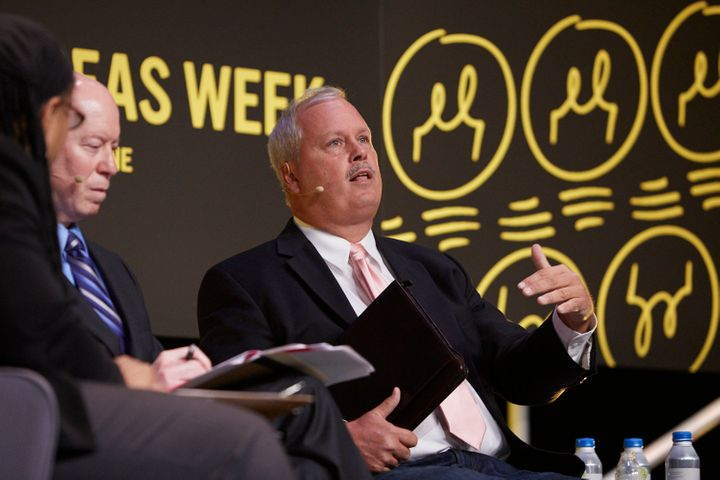 Craig Futterman, far left, and Eugene O'Donnell, right speak at Chicago Ideas Week on Oct. 18, 2016.