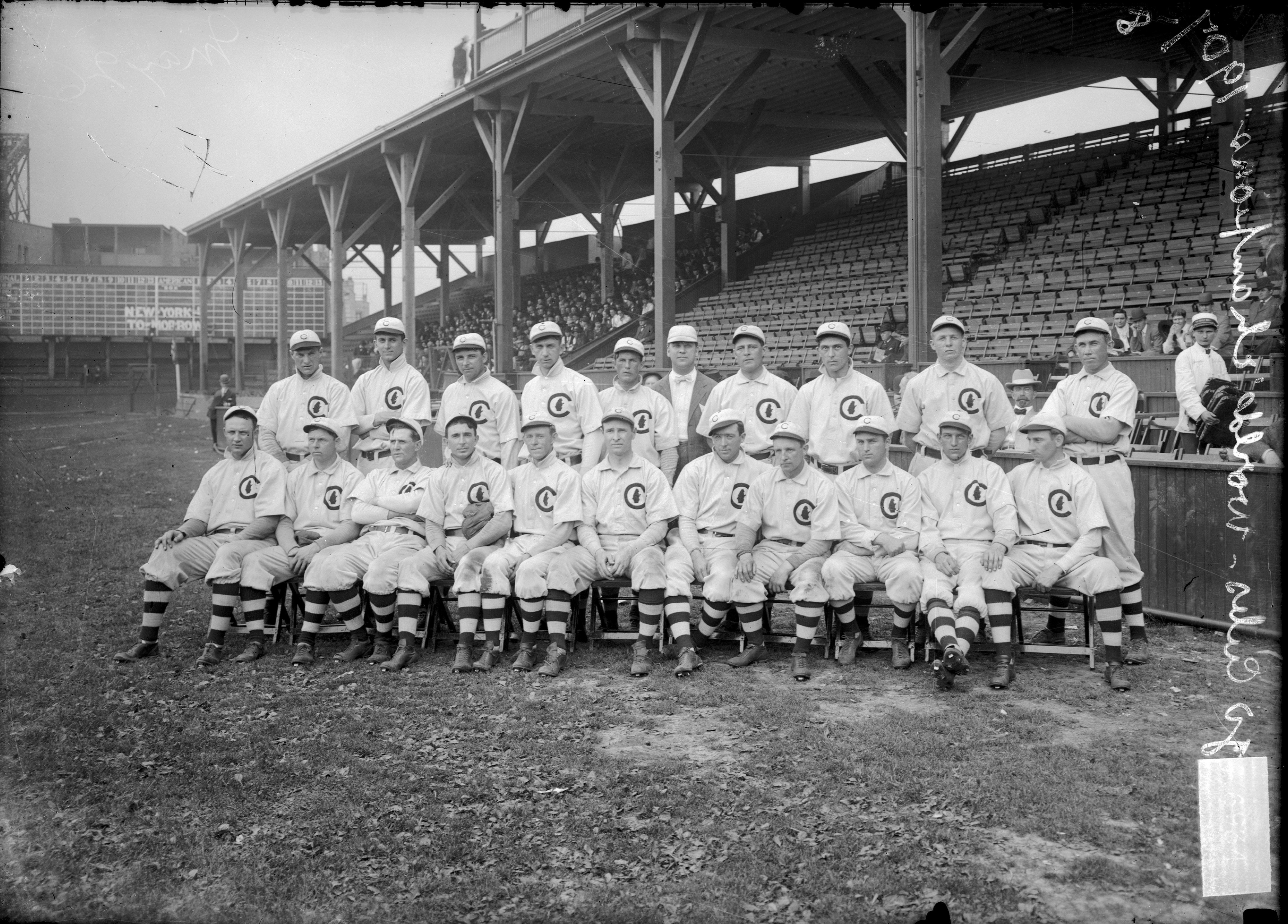 Group portrait of the Chicago Cubs posing for a photograph at West Side Grounds, Chicago, 1908.