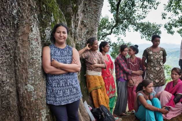Pramita Maharjan, a WaterAid staff member, stands for a portrait during a community sanitation triggering...