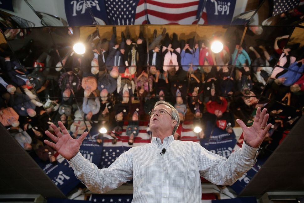 Jeb Bush holds his owntown hall meeting at the Alpine Club on Feb. 1, 2016, in Manchester, New Hampshire.