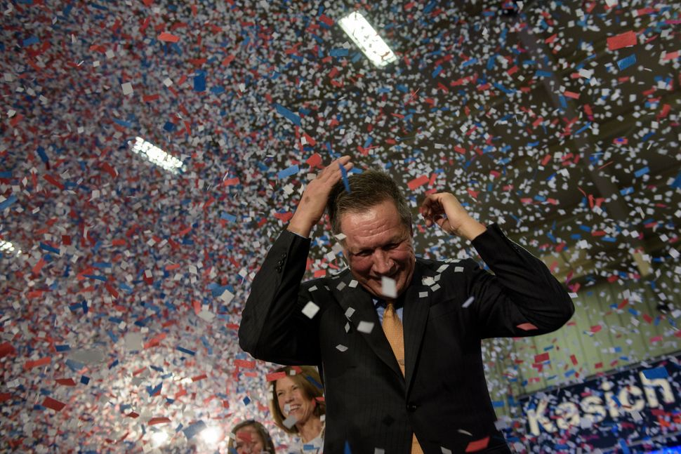 Presidential hopeful John Kasich celebrates his Ohio primary victory at Baldwin Wallace University on March 15, 2016.