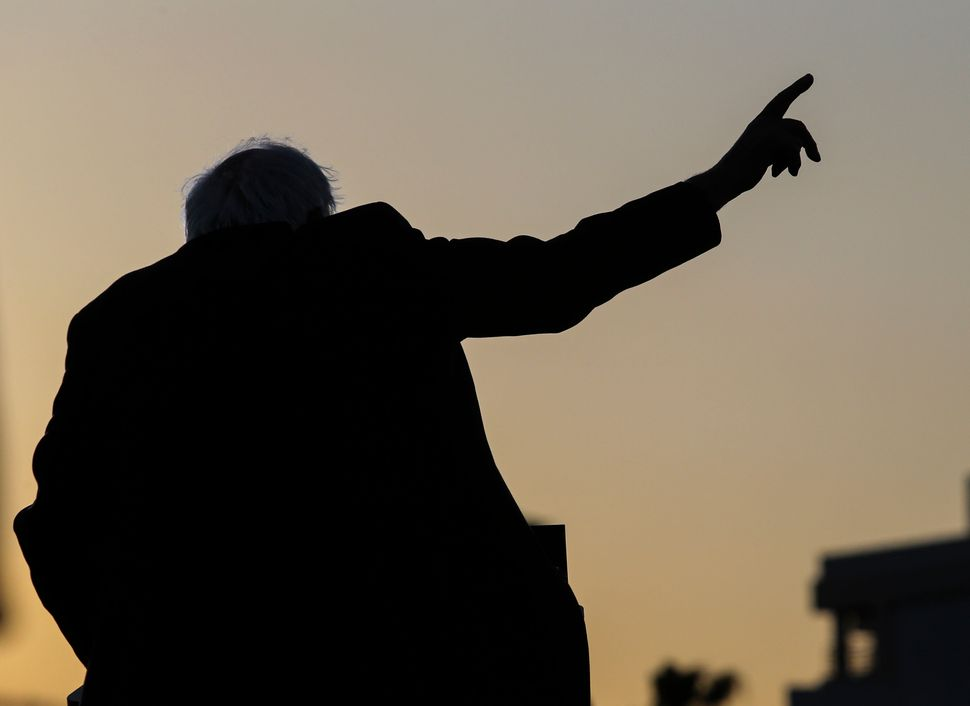 Sen.Bernie Sanders speaks during a rally at Santa Monica High School's football field in California on May 23, 2016.