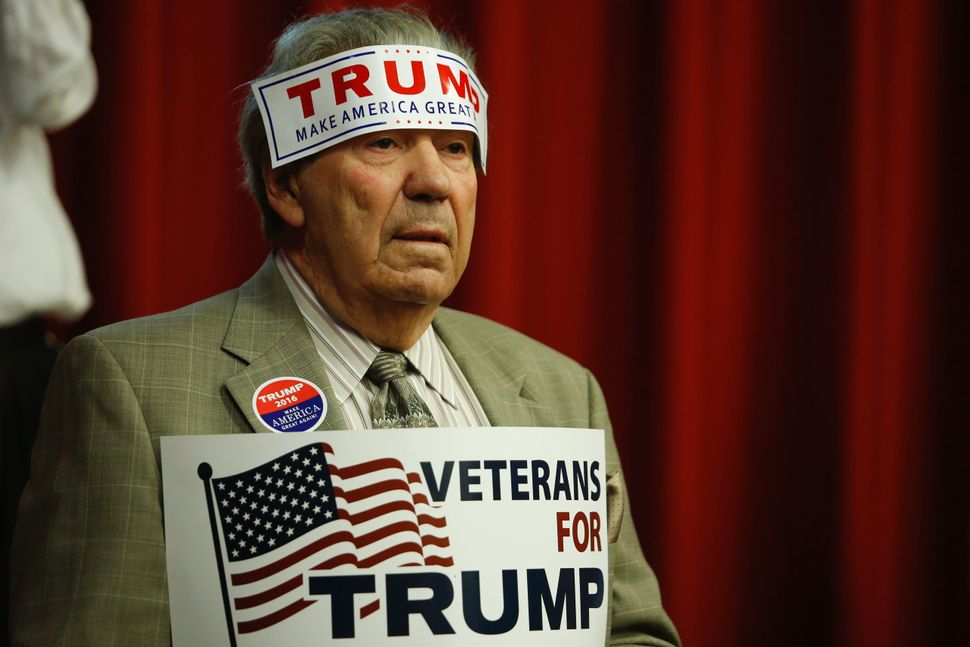 An apparently dedicated Trump supporter attends a fundraising event in Lawrenceville, New Jersey, on May 19, 2016.