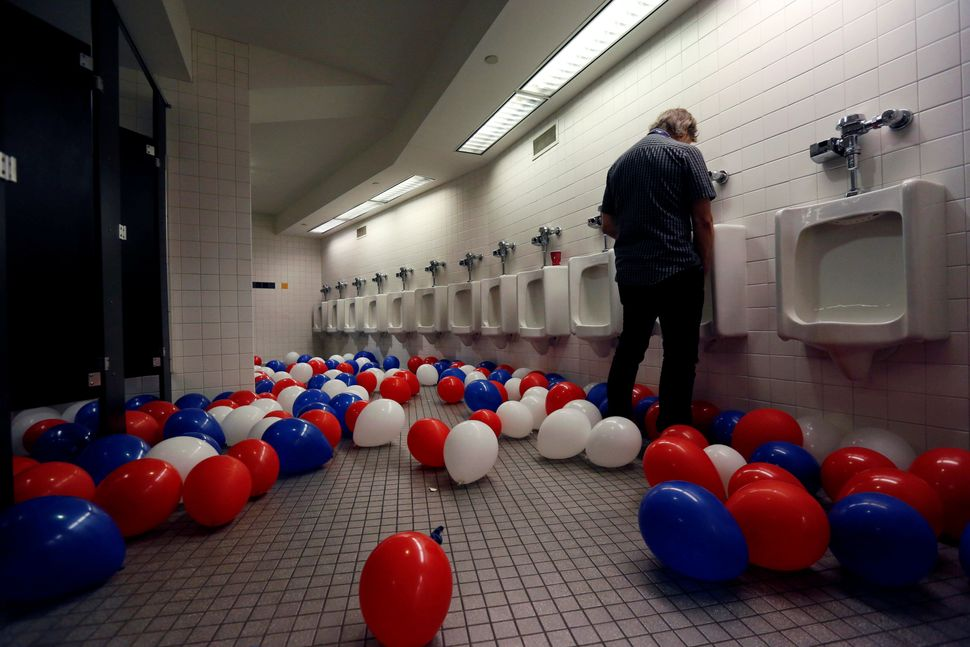 Balloons cover the bathroom floor after the conclusion of the Republican National Convention on July 21, 2016.