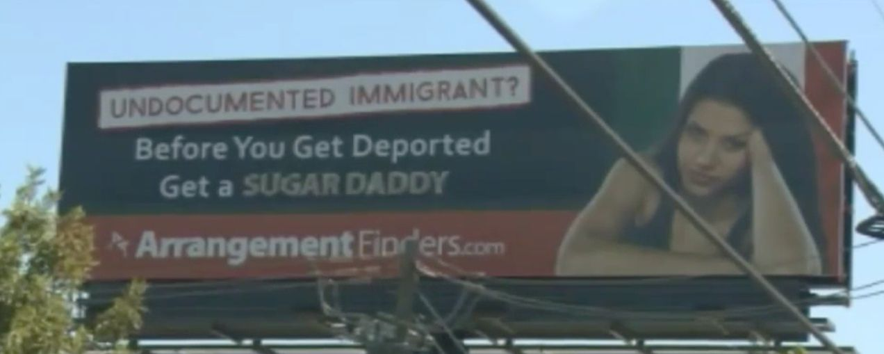 Thedating website ArrangementFinders.com is coming under fire for this ad targeting undocumented immigrants.