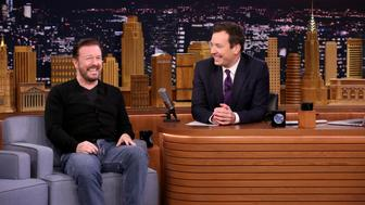 THE TONIGHT SHOW STARRING JIMMY FALLON -- Episode 0457 -- Pictured: (l-r) Actor Ricky Gervais during an interview with host Jimmy Fallon on April 25, 2016 -- (Photo by: Andrew Lipovsky/NBC/NBCU Photo Bank via Getty Images)