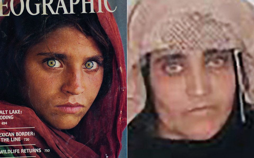 The iconic National Geographic cover on the left with a photo from a Pakistan court of Sharbat Gula in...