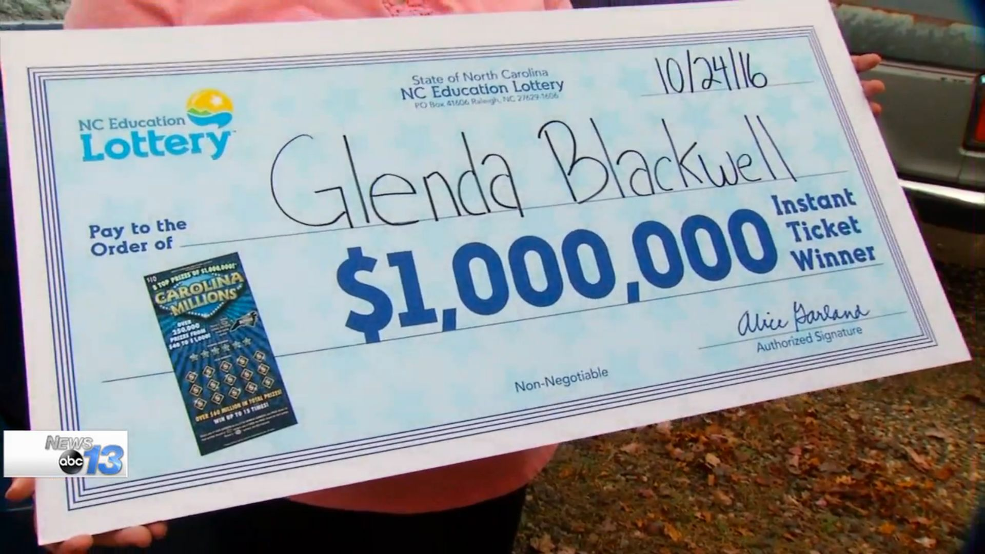 A North Carolina woman who was trying to prove that lottery tickets are a waste of money instead won 1000000
